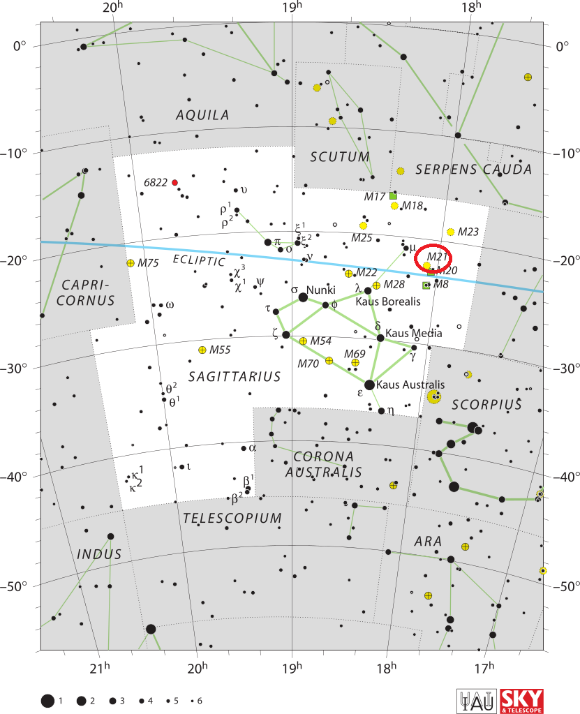 Положение скопления M21 в созвездии Стрелец