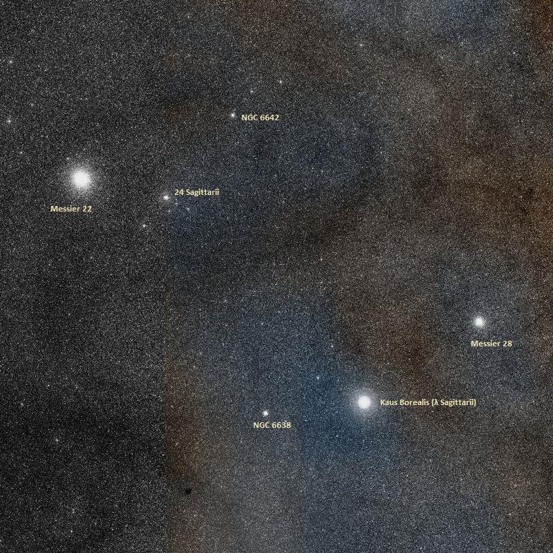 Шаровое скопление M22 и соседние объекты