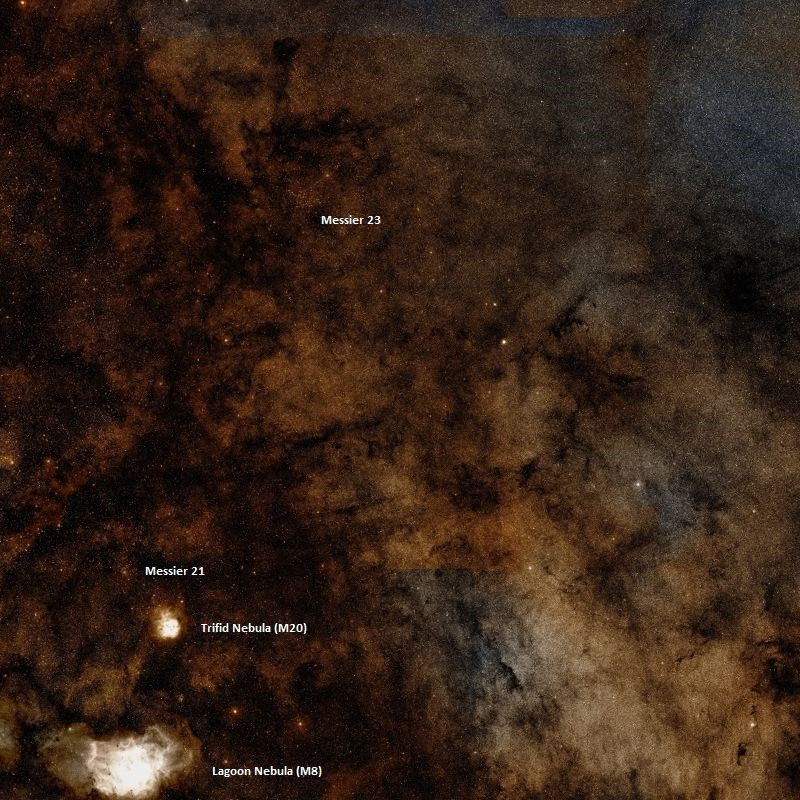 Рассеянное скопление Мессье 23 и его соседи
