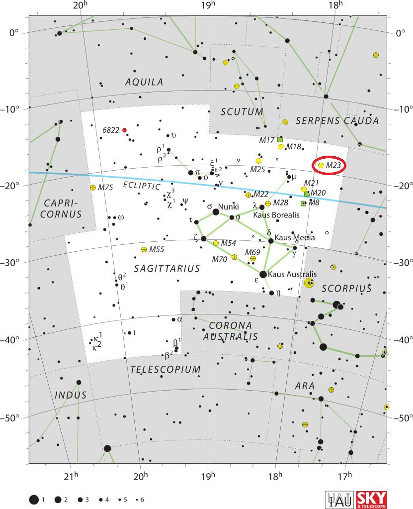 Рассеянное скопление M23 в созвездии Стрелец