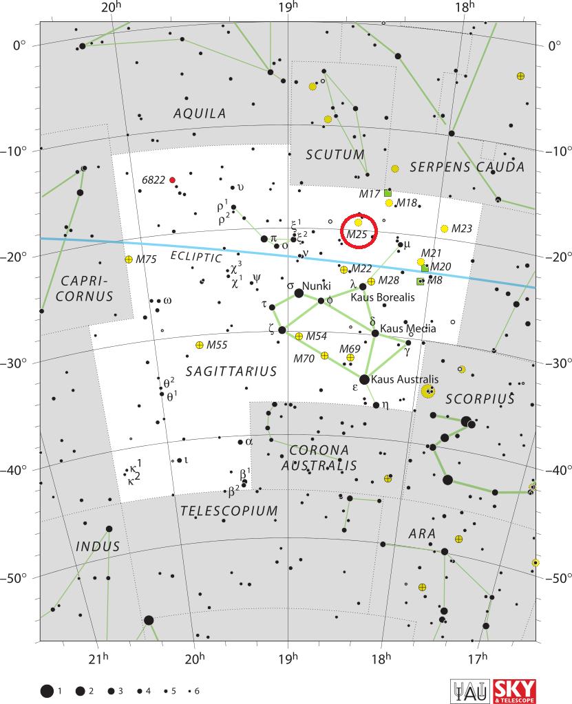 Скопление Мессье 25 в созвездии Стрельца