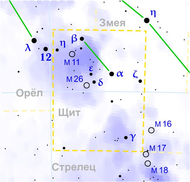 Скопление M26 в созвездии Щит
