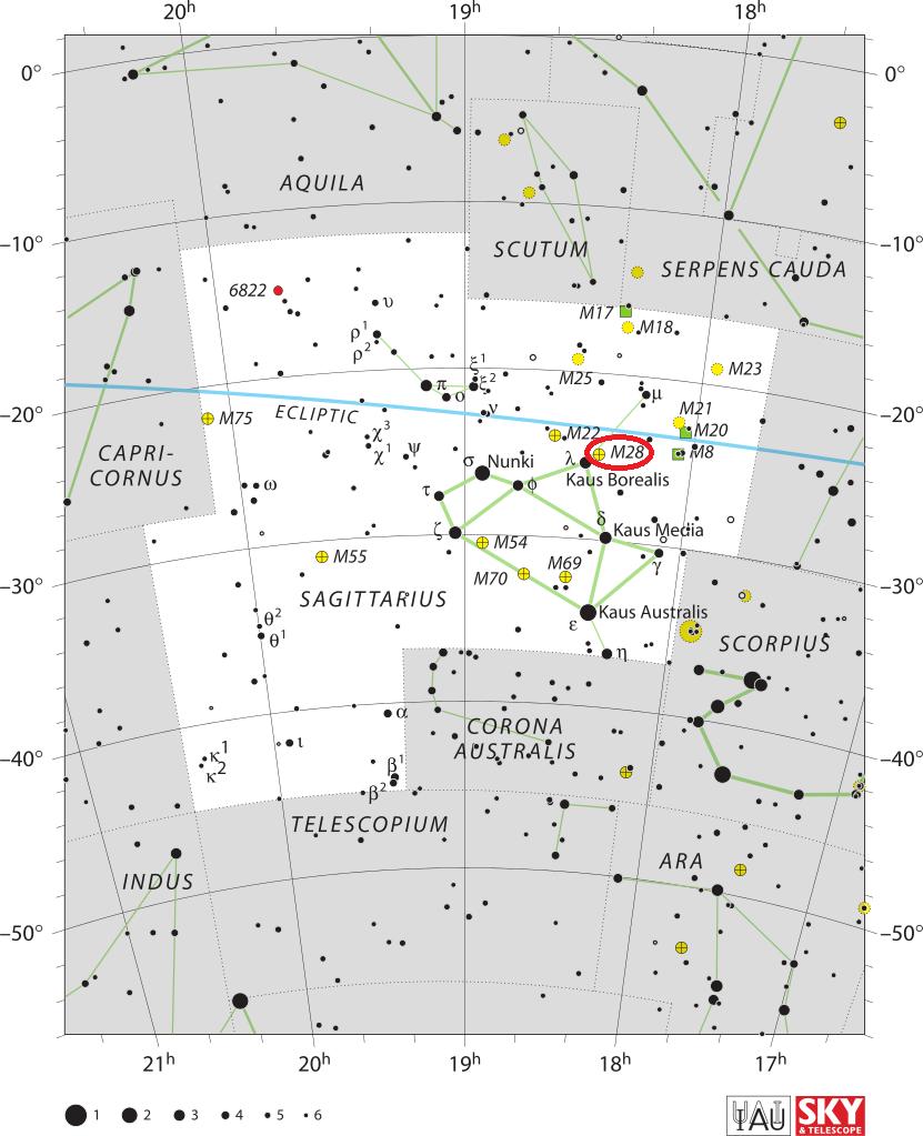 Скопление Мессье 28 в созвездии Стрельца