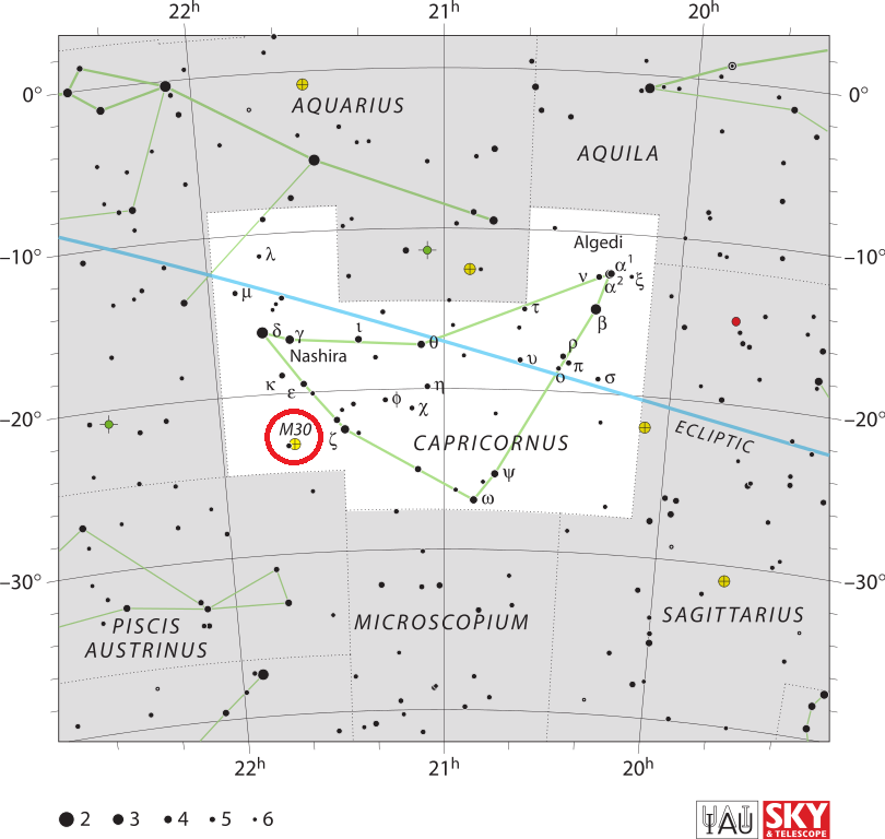 Положение скопления M30 в созвездии Козерог