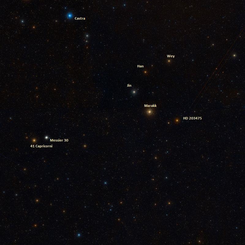 Шаровое скопление M30 и соседние объекты