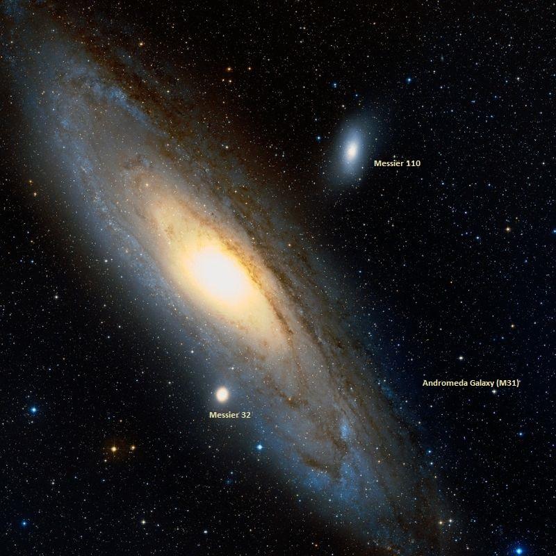 Галактика Андромеды и ее соседи - объекты Мессье 32 и 110