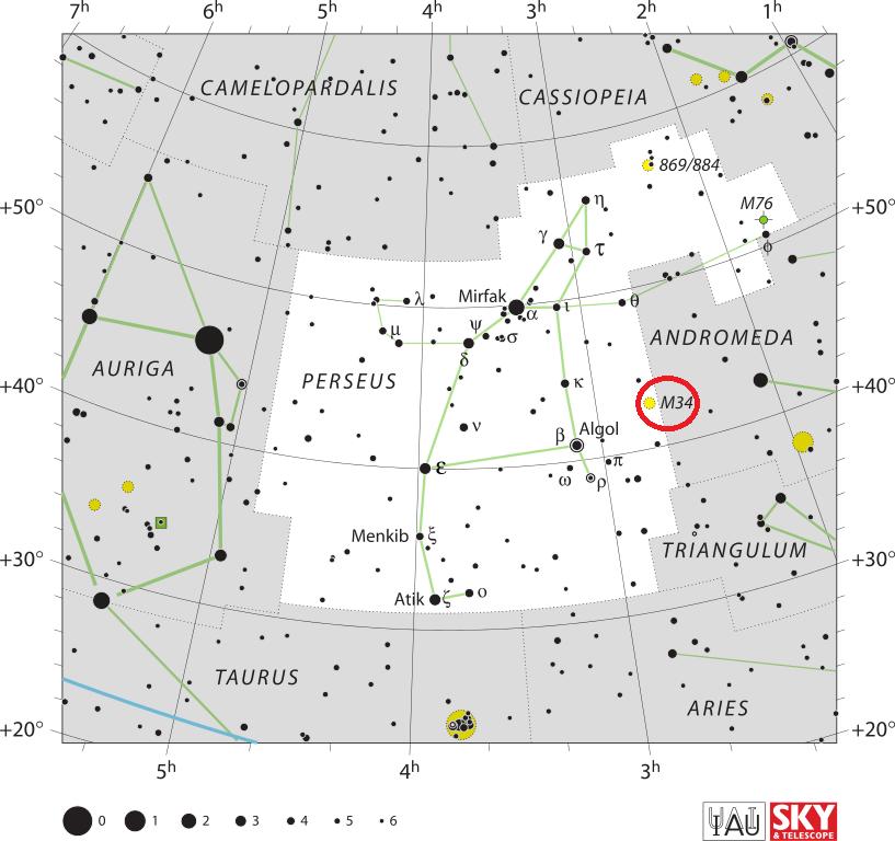 Скопление Мессье 34 в созвездии Персея