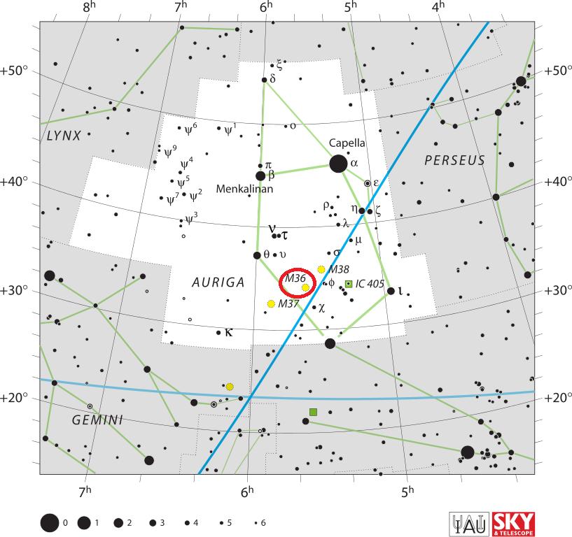 Положение скопления Мессье 36 в созвездии Возничего
