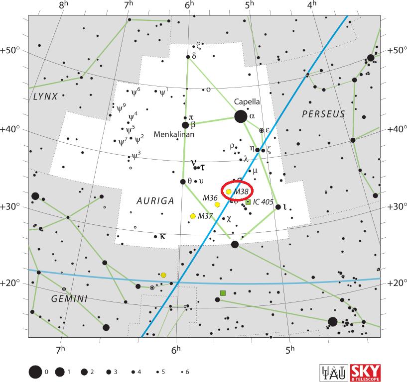 Скопление Мессье 38 в созвездии Возничего