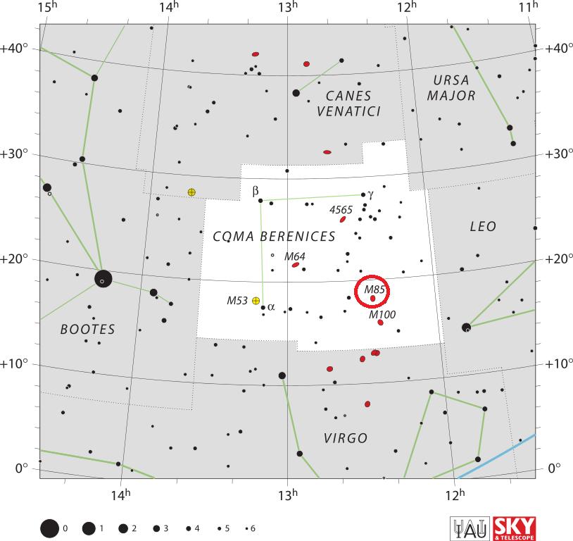Положение галактики Мессье 85 в созвездии Волосы Вероники