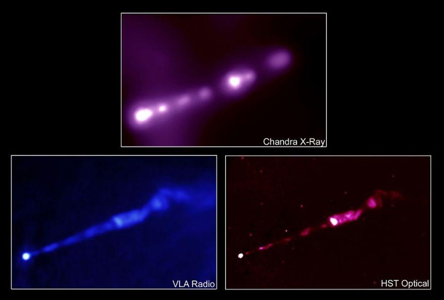 Струя, вырывающаяся из центра объекта Мессье 87 в различных диапазонах электромагнитного излучения