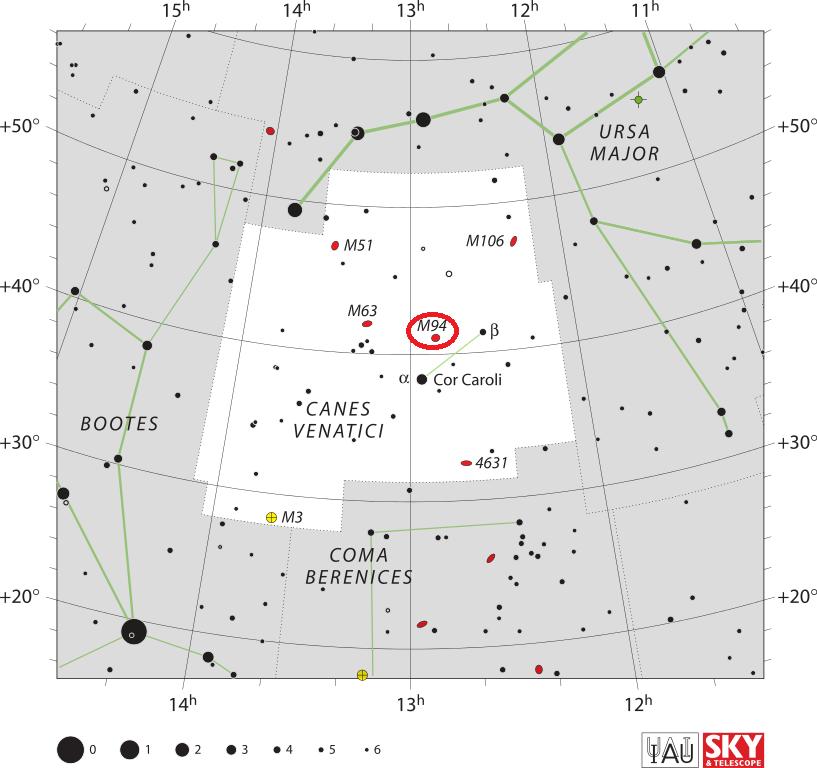 Галактика Мессье 94 в созвездии Гончие Псы