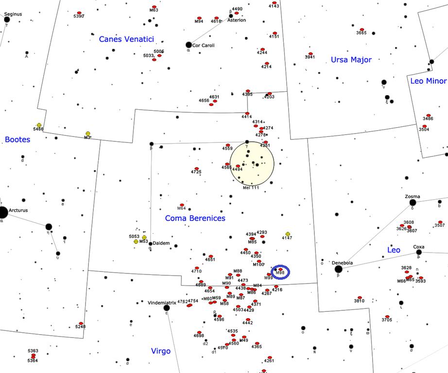 Положение галактики M98 в созвездии Волосы Вероники