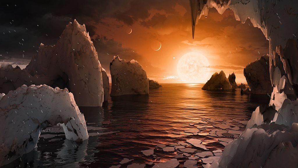 Вид с поверхности отдаленной холодной планеты TRAPPIST-1 f в представлении художника