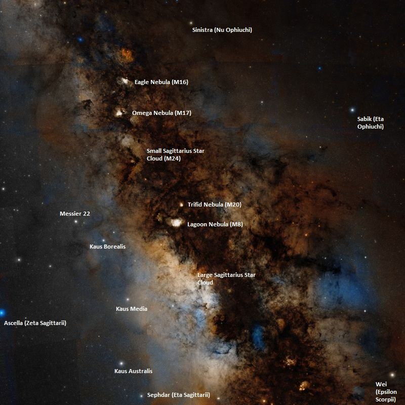 Звездное облако Стрельца M24 и его соседи