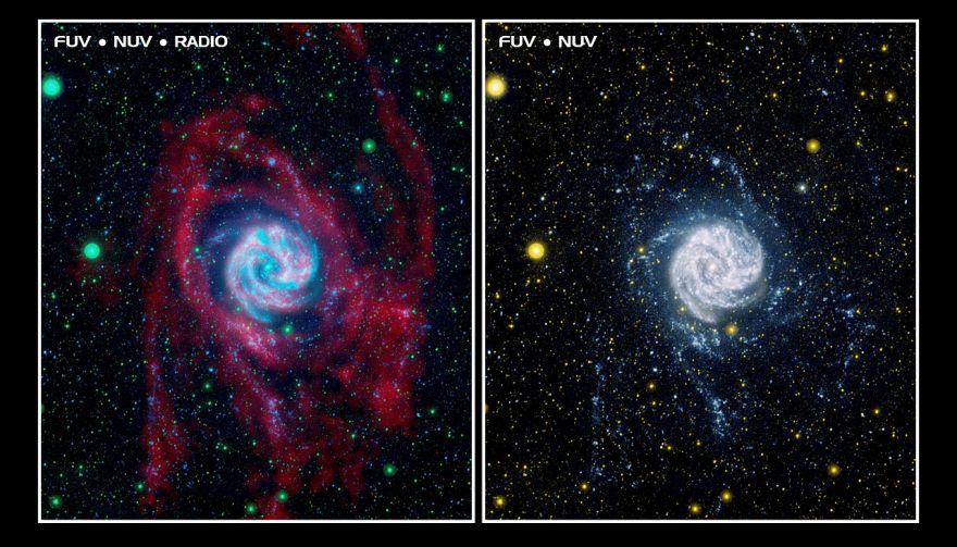 Фото объекта M83 в диапазоне радио (слева) и ультрафиолетовом (справа)