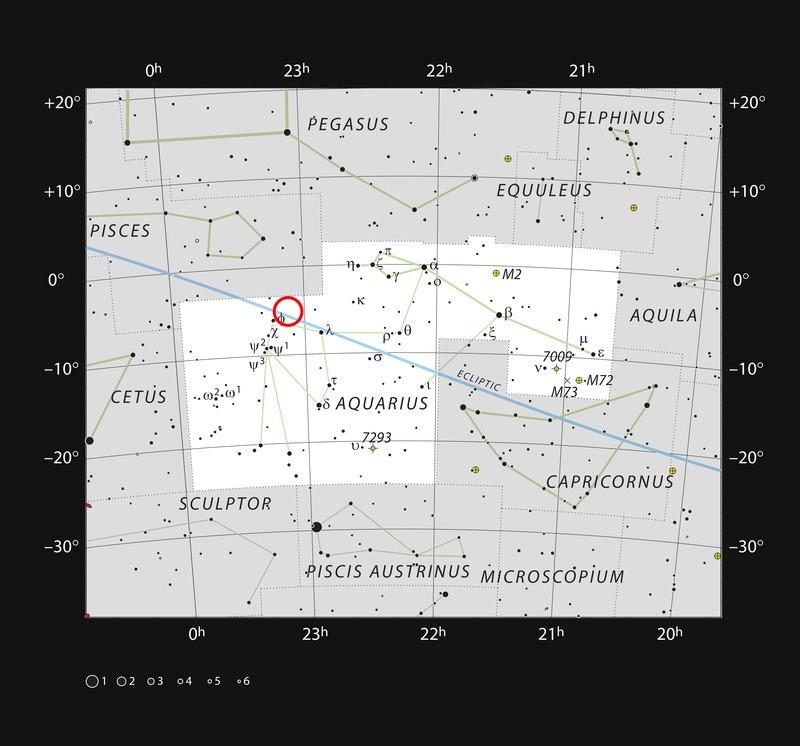 Положение TRAPPIST-1 в созвездии Водолея