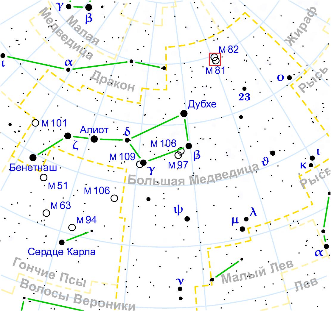 Положение галактики Боде в созвездии Большой Медведицы