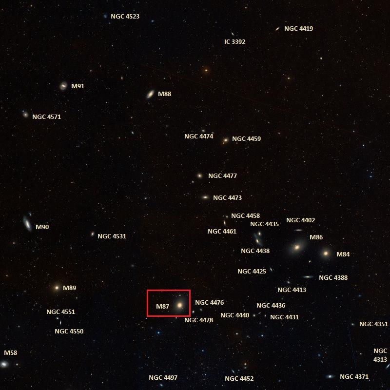 Положение галактики M87 в Скоплении Девы