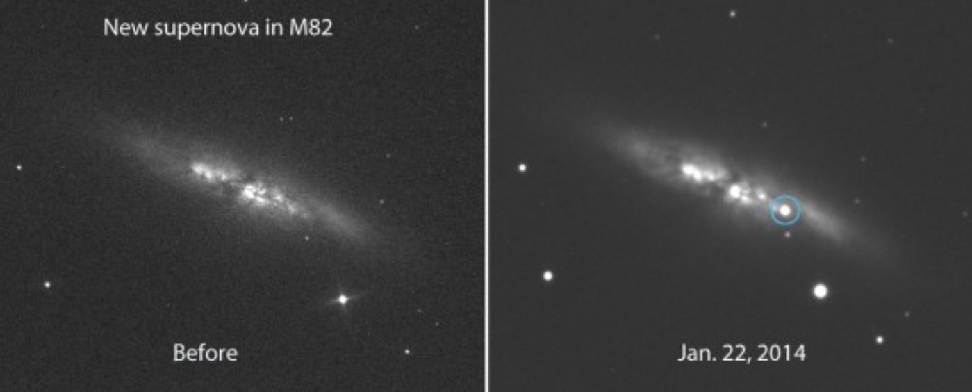 Сверхновая SN 2014J в галактике Сигара
