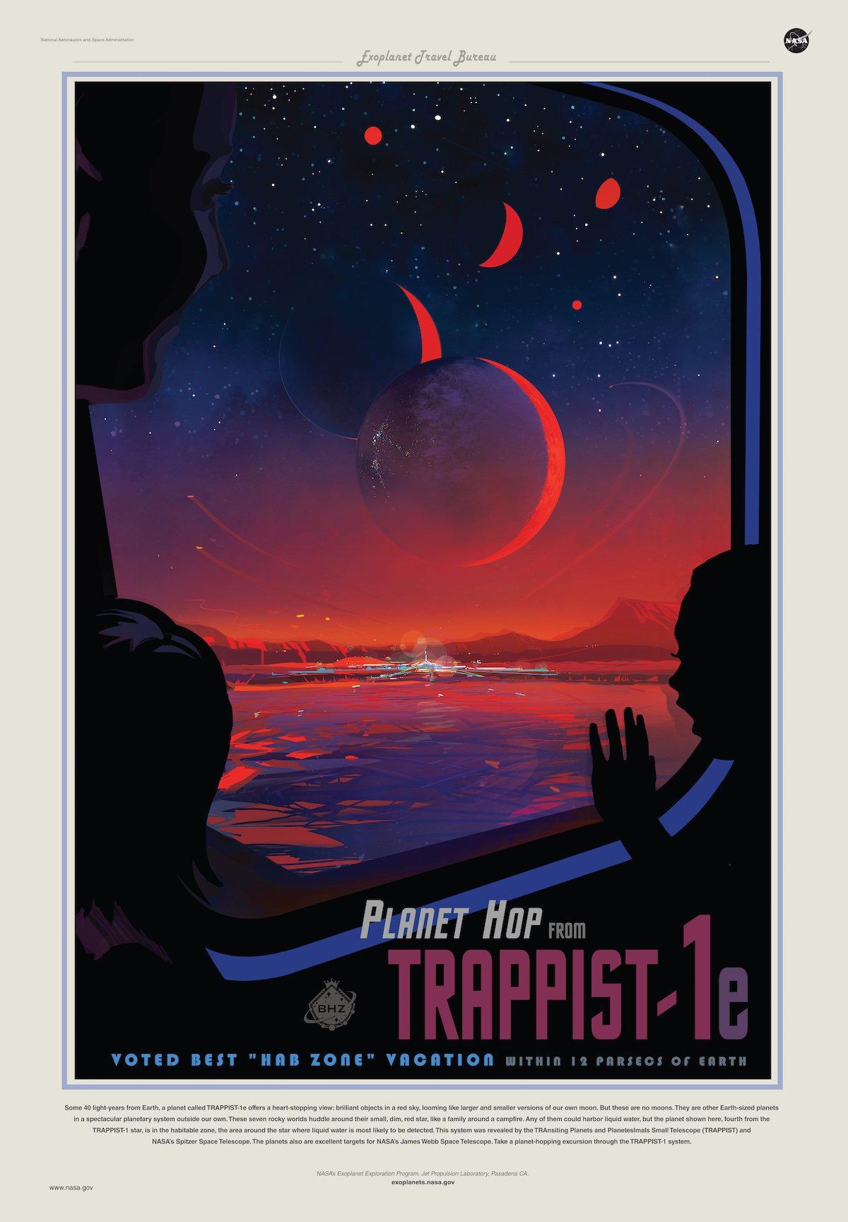 Футуристический постер о путешествии на TRAPPIST-1 e