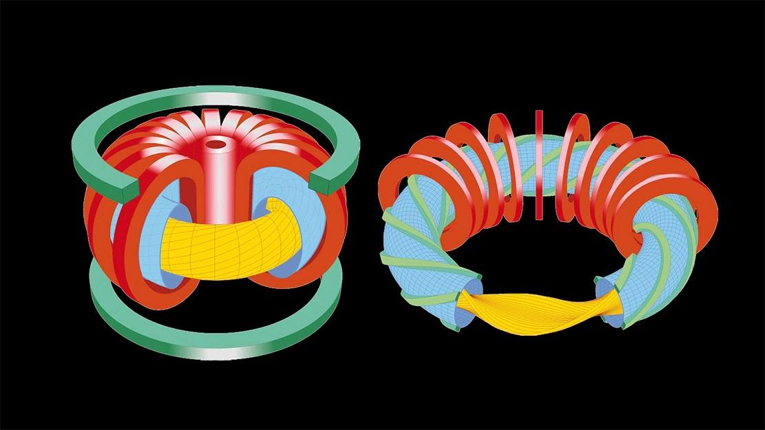 Сравнение конструкции токамака (слева) и стелларатора (справа)