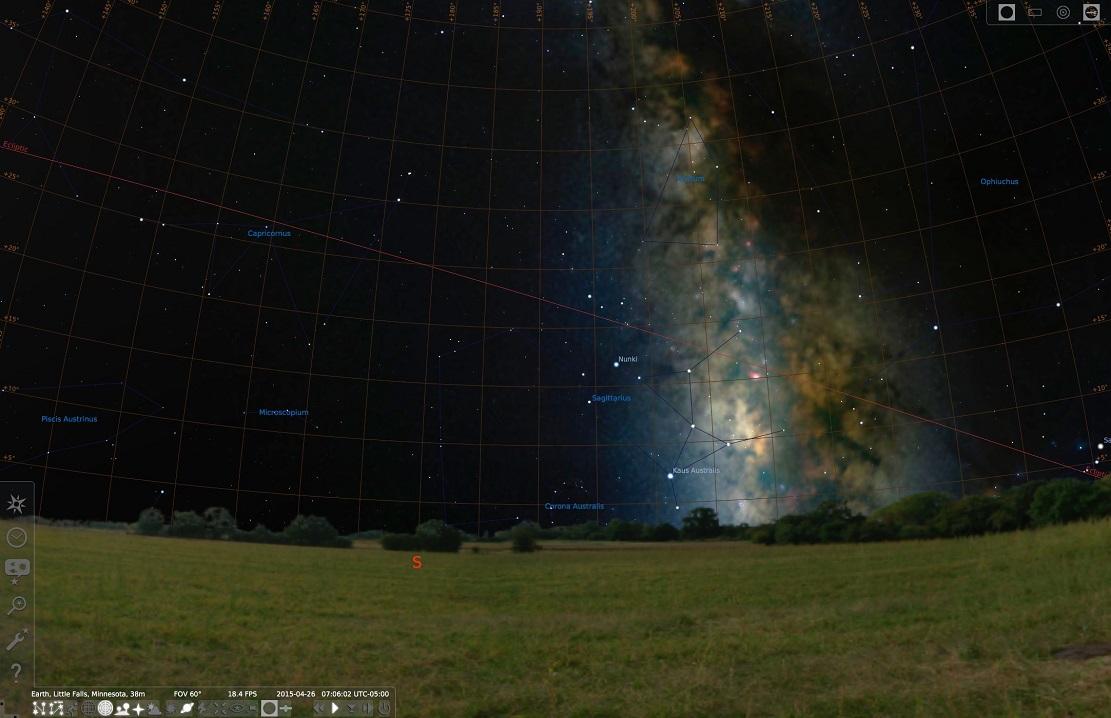 Сетка и Млечный Путь в программе Stellarium