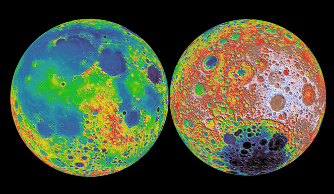 Топографическая карта Луны