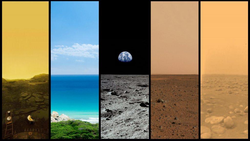Сравнение поверхности Венеры, Земли, Луны, Марса и Титана (слева направо)