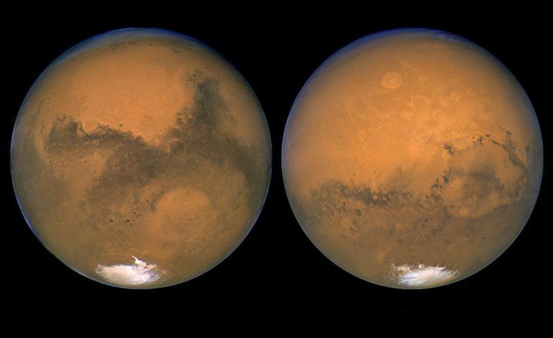 Снимки Марса с помощью космического телескопа Хаббл во время великого противостояния 2003 года