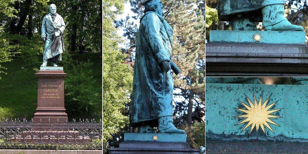 Памятник Гауссу в Брауншвейге с изображенной на нём 17-лучевой звездой