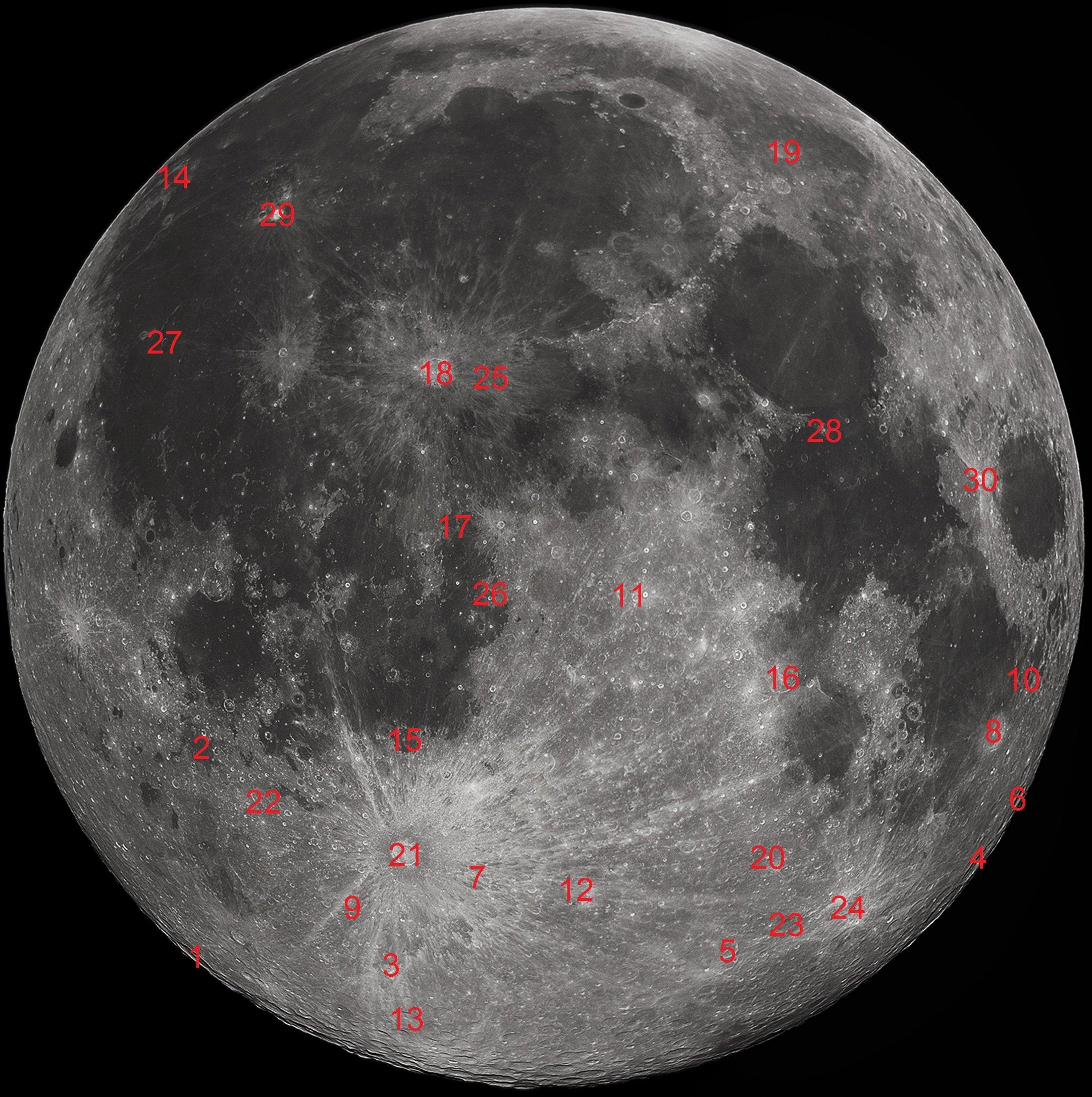 Карта кратеров сгруппированных по их размеру