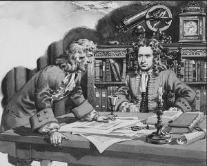 Галлей уговаривает Ньютона. Художник Pat Nicolle
