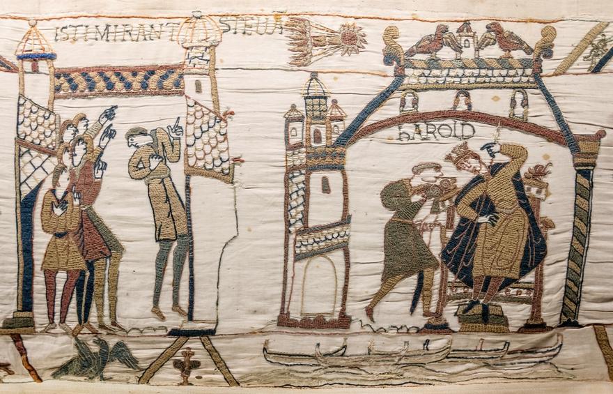 Комета Галлея на гобелене Байе 1066 год