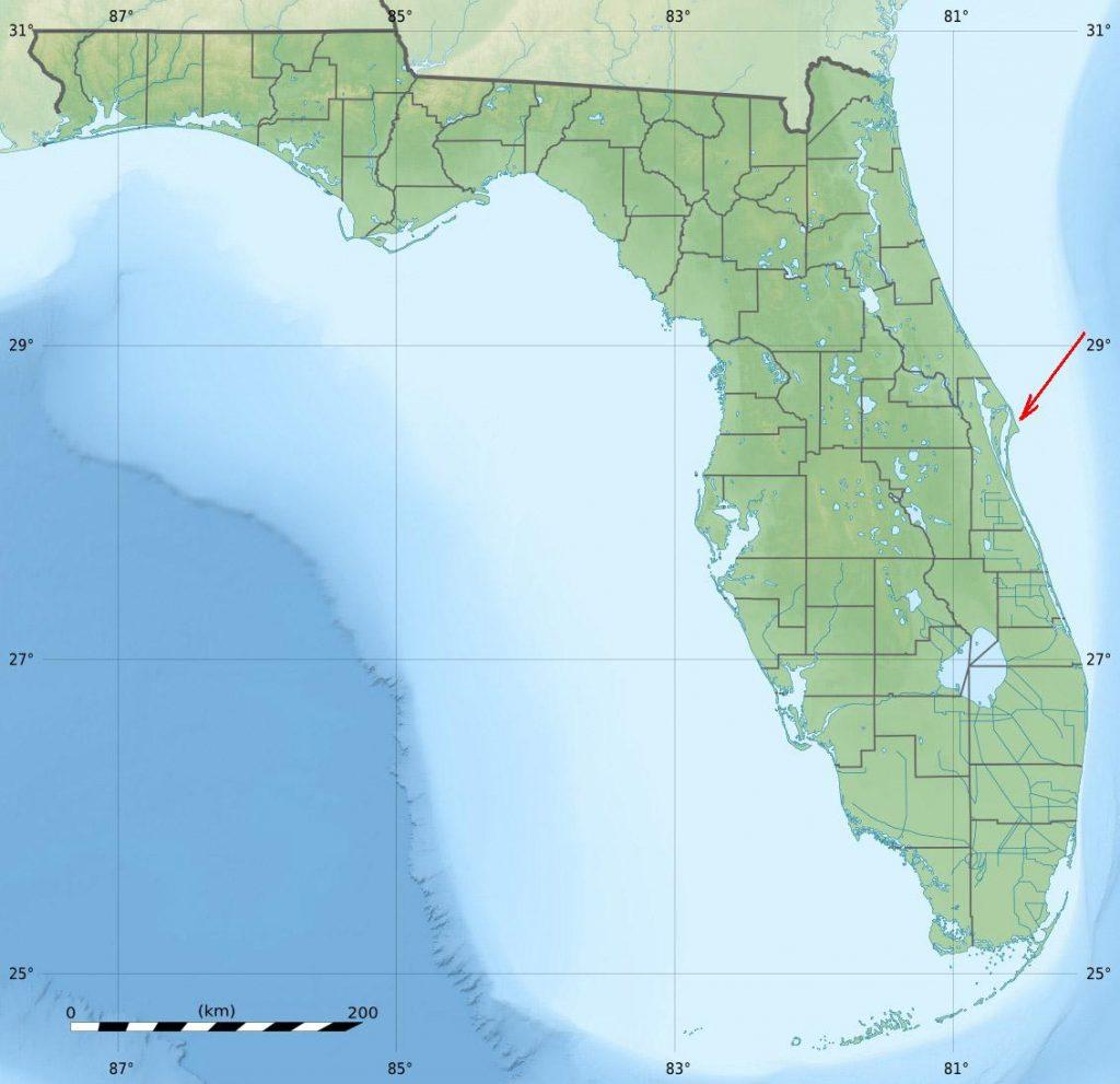 Космодром на географической карте штата Флорида