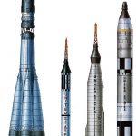 Первые американские и советские РН (слева на право: Р7, Редстоун, Атлас, Титан-2).