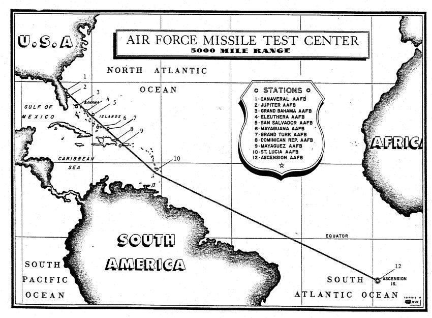 Траектория запусков американских МБР с побережья Флориды в сторону острова Вознесения в Атлантическом океане
