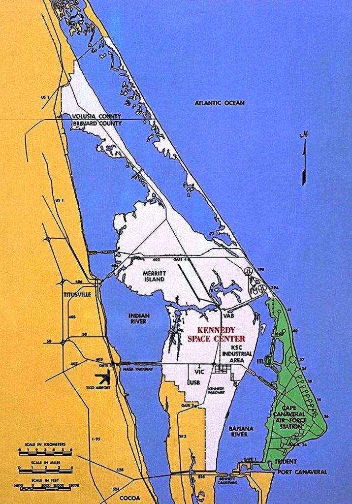 Остров Мерритт (область белого цвета) и мыс Канаверал (область зеленого цвета) на карте