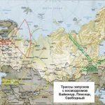 Запуски ракет с Плесецка осуществляются в широком диапазоне азимутов (наклонения орбит от 62 до 100 градусов)