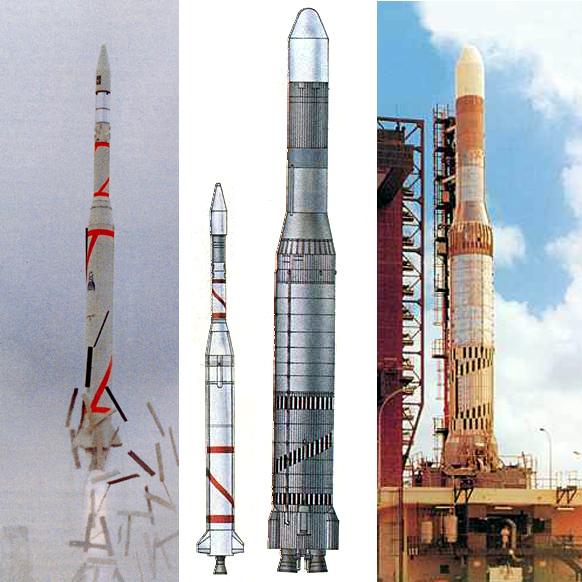 Сравнение ракет Диамант (слева) и Европа (справа)