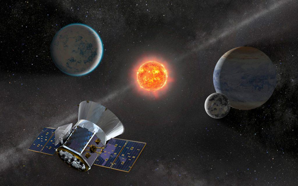 «Охотник» за экзопланетами TESS в представлении художника