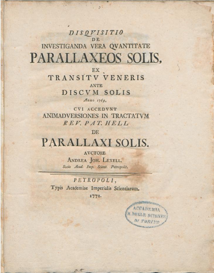 Монография Лекселя об определении параллакса, опубликованная в 1772 году
