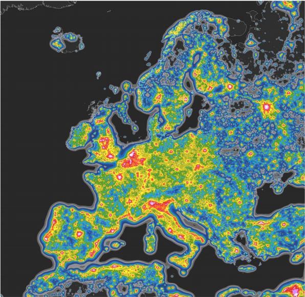 Карта светового загрязнения европейского континента