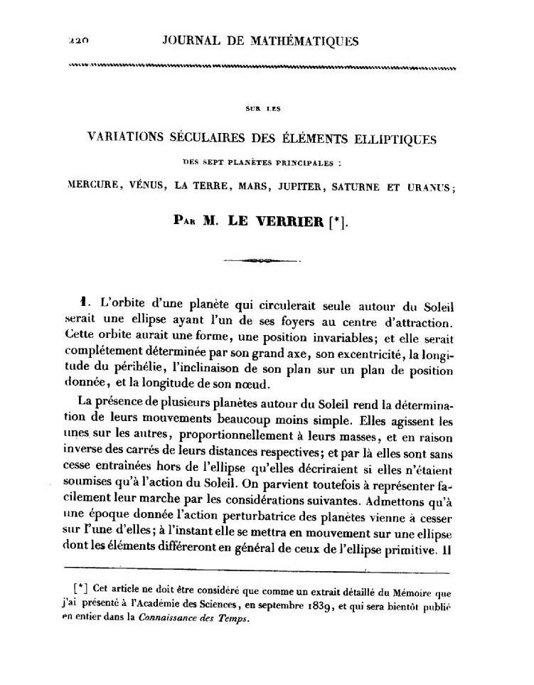 Статья Леверье в журнале Лиувилля (1840 г.)