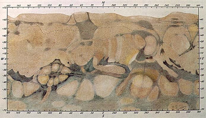 Зарисовка деталей марсианской поверхности, сделанная астрономом Дж. де Моттони по просьбе МАС (Международного астрономического сообщества) в 1958 году