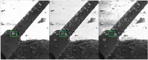 Пример снимков капелек некой жидкости на 8, 31 и 41-ый день миссии