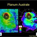 Оценки толщины подземного льда (thickness) и высоты поверхности относительно среднего радиуса Марса (elevation) у южной полярной шапки по данным радара MARSIS