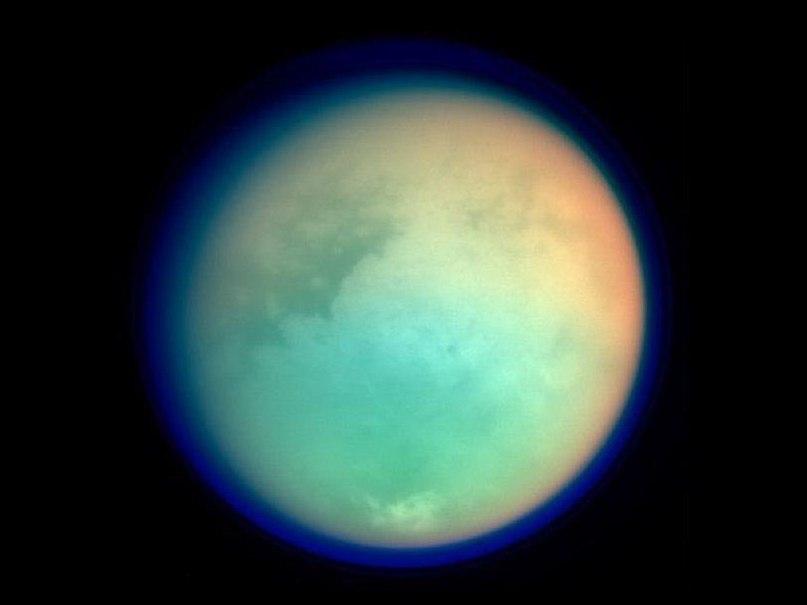 ИК изображение Титана, снимок зонда Кассини
