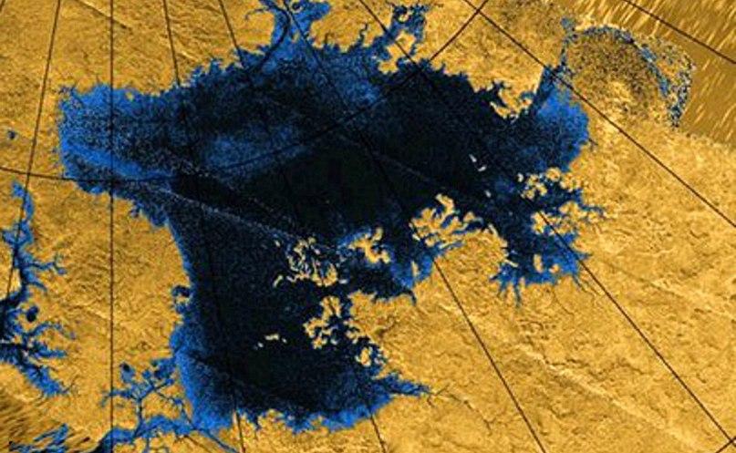 Море Лигеи на Титане, радарный снимок зонда Кассини