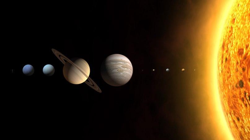 Солнечная Система упрощенно, не в масштабе